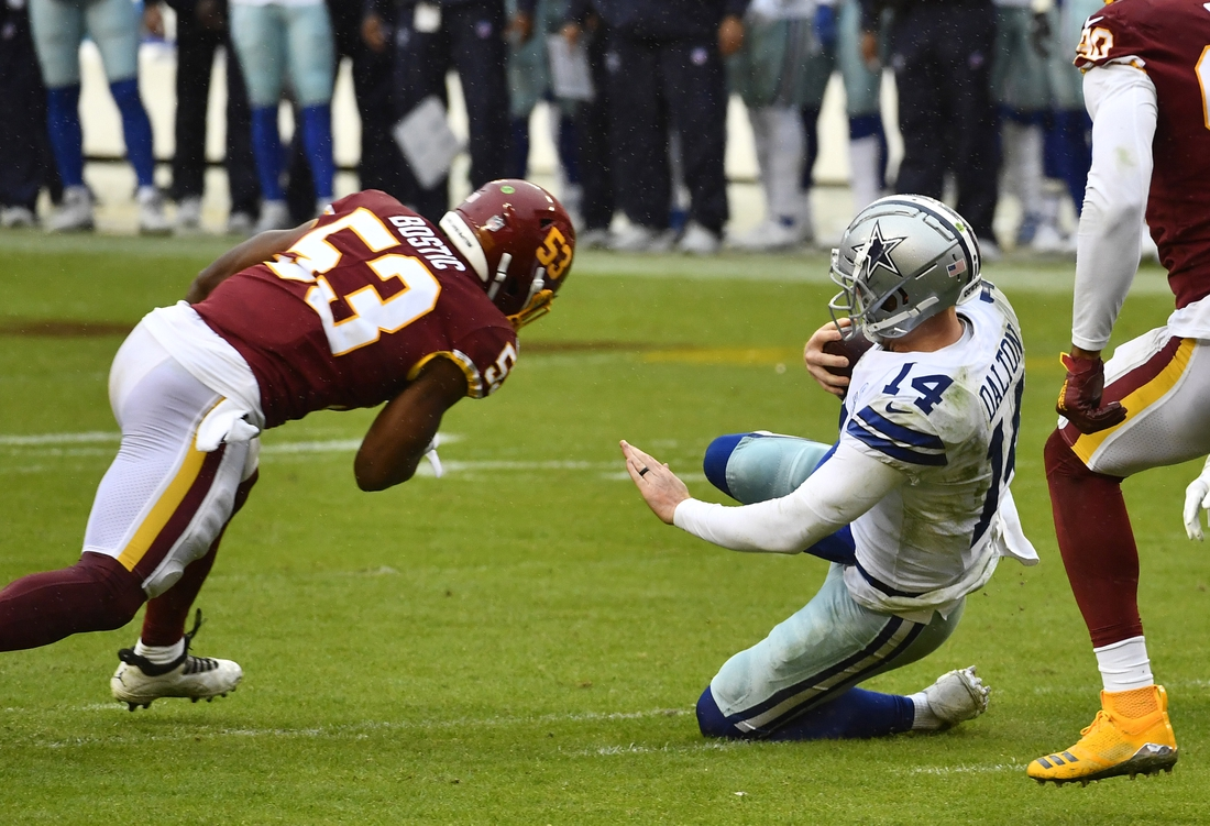 Oct 25, 2020; Landover, Maryland, USA; Washington Football Team linebacker Jon Bostic (53) tackles Dallas Cowboys quarterback Andy Dalton (14) during the second half at FedExField. Mandatory Credit: Brad Mills-USA TODAY Sports