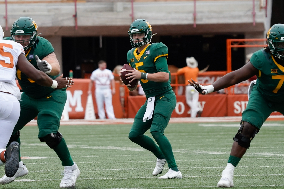 Oct 24, 2020; Austin, Texas, USA; Baylor Bears quarterback Charlie Brewer (5) throws a pass during the second quarter of the game against the Texas Longhorns at Darrell K Royal-Texas Memorial Stadium. Mandatory Credit: Scott Wachter-USA TODAY Sports