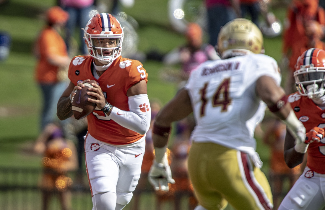 Oct 31, 2020; Clemson, SC, USA; Clemson quarterback D.J. Uiagalelei (5) passes the ball during the first quarter of the game against Boston College at Memorial Stadium. Mandatory Credit: Josh Morgan-USA TODAY Sports