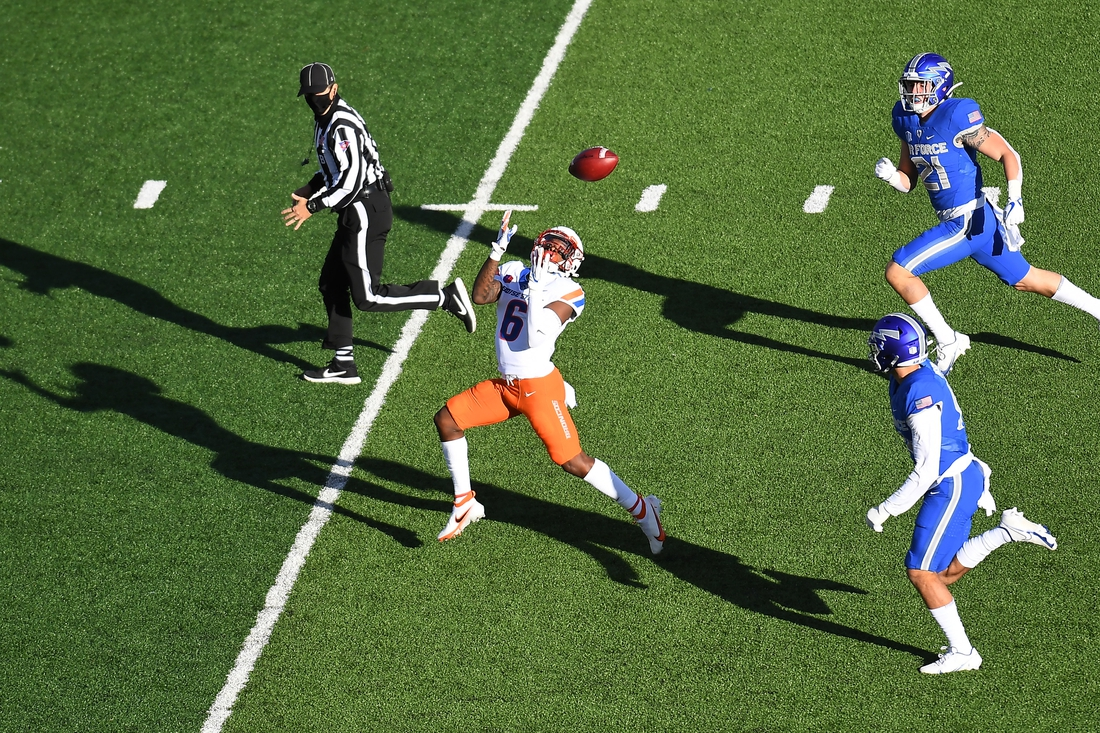 Oct 31, 2020; Colorado Springs, Colorado, USA; Boise State Broncos wide receiver CT Thomas (6) makes a catch for a touchdown reception in the first quarter against the Air Force Falcons  at Falcon Stadium. Mandatory Credit: Ron Chenoy-USA TODAY Sports