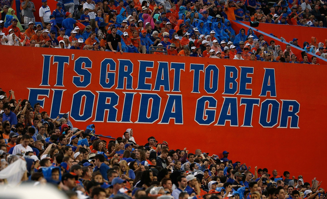 "Oct 15, 2016; Gainesville, FL, USA; A general view of the Swamp where it says ""It's Great to be a Florida Gator"" during the second half between the Florida Gators and Missouri Tigers at Ben Hill Griffin Stadium. Florida Gators defeated the Missouri Tigers 40-14. Mandatory Credit: Kim Klement-USA TODAY Sports"