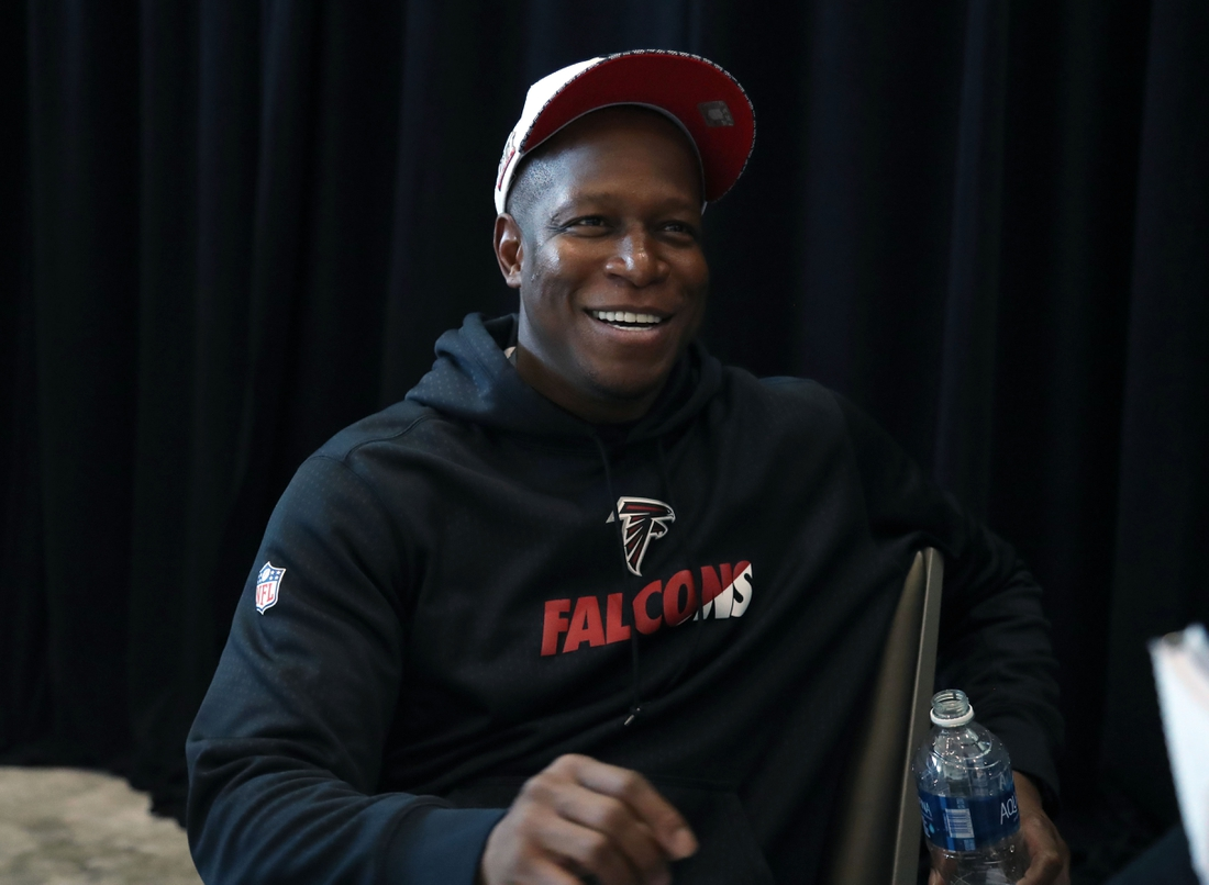 Feb 1, 2017; Houston, TX, USA; Atlanta Falcons assistant head coach Raheem Morris smiles as he answers questions at a press conference for Super Bowl LI at Westin Houston Memorial City Hotel. Mandatory Credit: Matthew Emmons-USA TODAY Sports