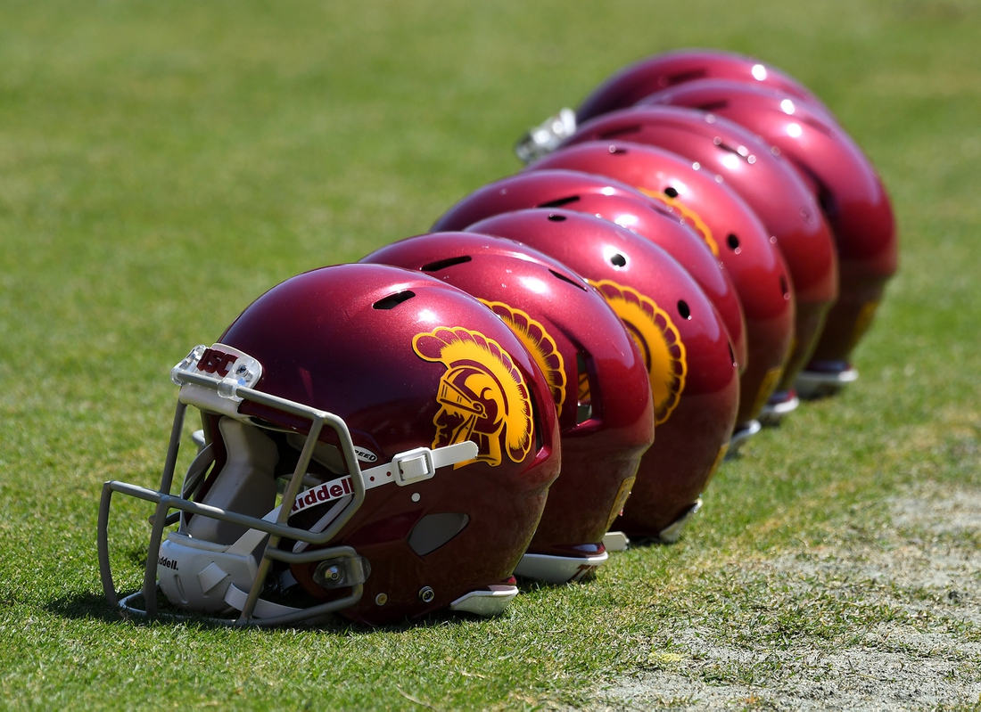 Apr 15, 2017; Los Angeles, CA, USA;  USC Trojans helmets on the field before the start of the annual 2017 Spring Game at the Los Angeles Memorial Coliseum . Mandatory Credit: Jayne Kamin-Oncea-USA TODAY Sports