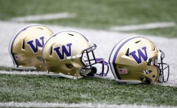 Apr 22, 2017; Seattle, WA, USA; Washington Huskies helmets sit on the field during the Spring Game at Husky Stadium. Mandatory Credit: Jennifer Buchanan-USA TODAY Sports