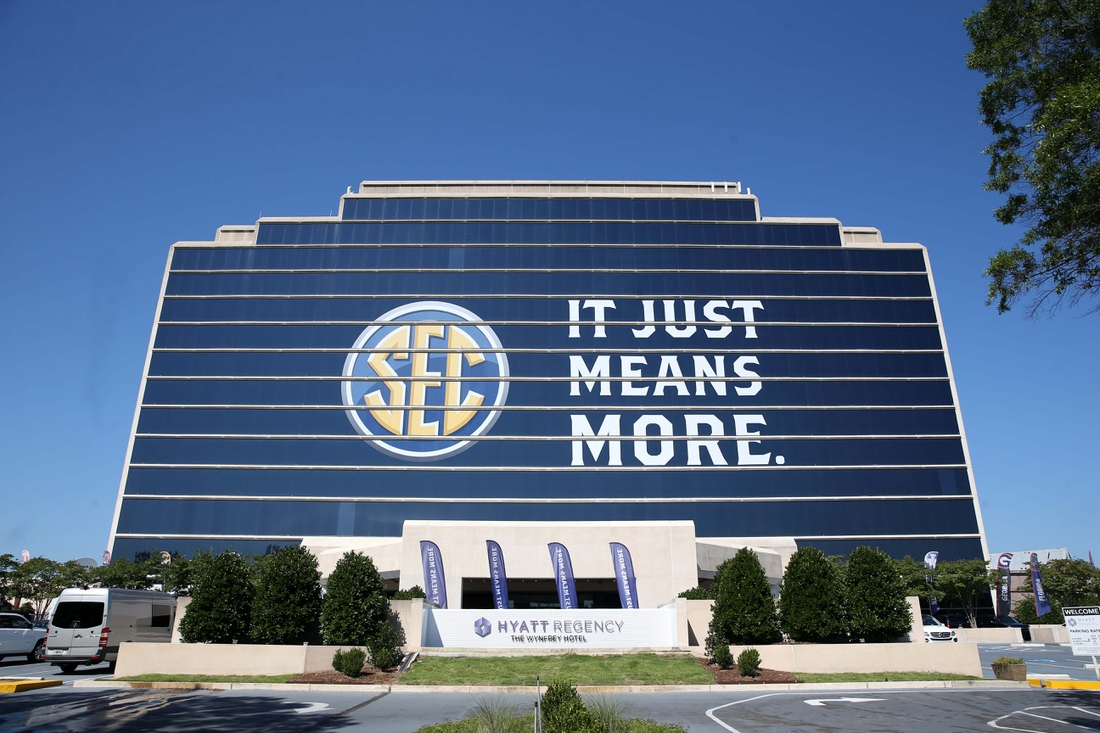 Jul 10, 2017; Hoover, AL, USA; The Southeastern Conference logo is shown on the Hyatt Regency Birmingham-The Winfrey Hotel during SEC media days at Hyatt Regency Birmingham-The Winfrey Hotel. Mandatory Credit: Jason Getz-USA TODAY Sports