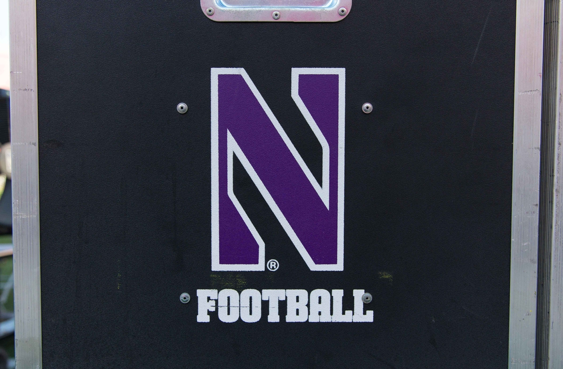 Sep 30, 2017; Madison, WI, USA; Northwestern Wildcats football logo on sideline equipment prior to the game against the Wisconsin Badgers at Camp Randall Stadium. Mandatory Credit: Jeff Hanisch-USA TODAY Sports