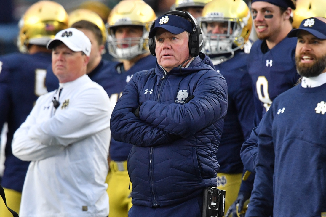 Oct 28, 2017; South Bend, IN, USA; Notre Dame Fighting Irish head coach Brian Kelly watches from the sideline in the second quarter against the North Carolina State Wolfpack at Notre Dame Stadium. Mandatory Credit: Matt Cashore-USA TODAY Sports