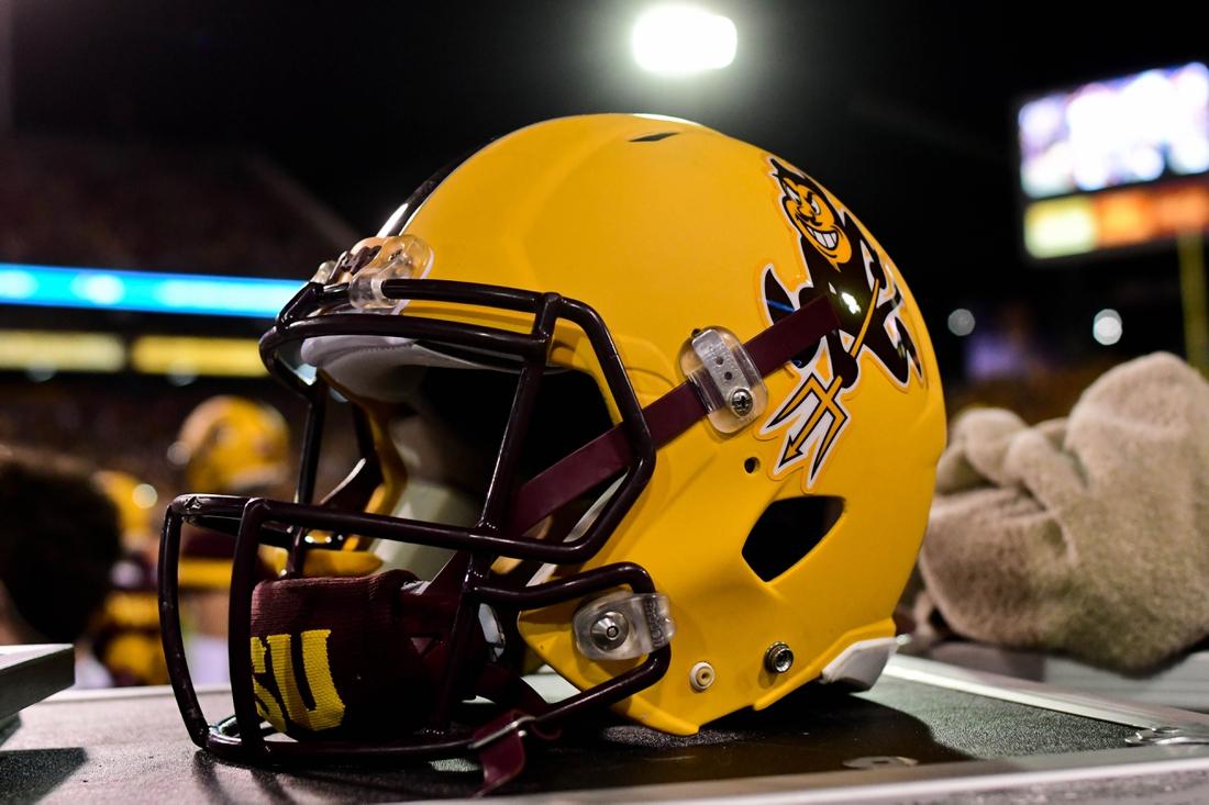 Oct 28, 2017; Tempe, AZ, USA; General view of an Arizona State Sun Devils helmet during the game against the USC Trojans at Sun Devil Stadium. Mandatory Credit: Matt Kartozian-USA TODAY Sports