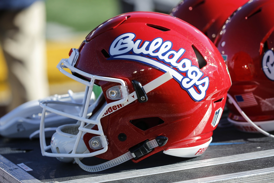 Nov 18, 2017; Laramie, WY, USA; A general view of the  Fresno State Bulldogs helmet against the Wyoming Cowboys during the second quarter at War Memorial Stadium. Mandatory Credit: Troy Babbitt-USA TODAY Sports