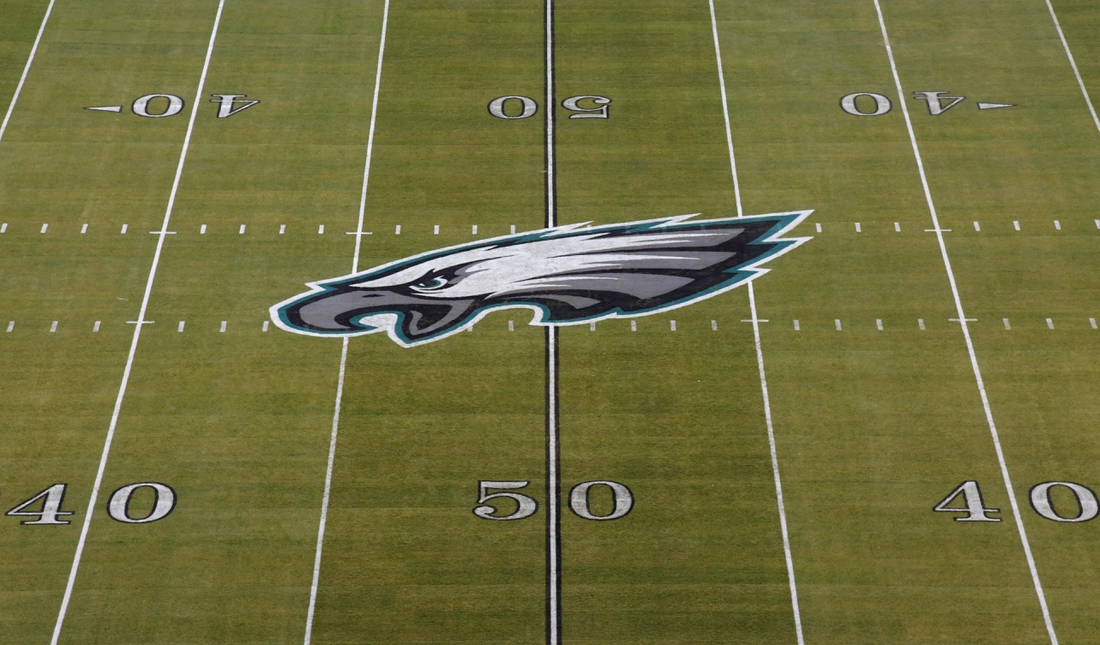 Dec 25, 2017; Philadelphia, PA, USA; General overall view of the Philadelphia Eagles logo at midfield during an NFL football game between the Oakland Raiders and the Philadelphia Eagles at Lincoln Financial Field. Mandatory Credit: Kirby Lee-USA TODAY Sports