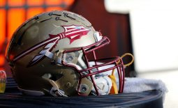 Nov 25, 2017; Gainesville, FL, USA; Florida State Seminoles helmet lays on the field against the Florida Gators during the second half at Ben Hill Griffin Stadium. Mandatory Credit: Kim Klement-USA TODAY Sports