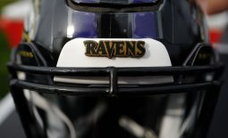 Aug 2, 2018; Canton, OH, USA; A view of the Ravens logo on a game helmet prior to the game of the Chicago Bears against the Baltimore Ravens at Tom Benson Hall of Fame Stadium. Mandatory Credit: Aaron Doster-USA TODAY Sports
