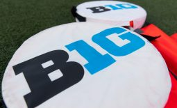Aug 31, 2018; Madison, WI, USA; Big Ten logo on yardage markers during warmups prior to the game betwee the Western Kentucky Hilltoppers and Wisconsin Badgers at Camp Randall Stadium. Mandatory Credit: Jeff Hanisch-USA TODAY Sports