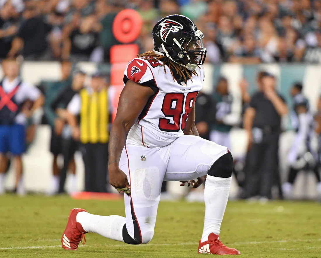 Sep 6, 2018; Philadelphia, PA, USA; Atlanta Falcons defensive end Takkarist McKinley (98) celebrates a sack against the Philadelphia Eagles during the first half at Lincoln Financial Field. Mandatory Credit: Eric Hartline-USA TODAY Sports