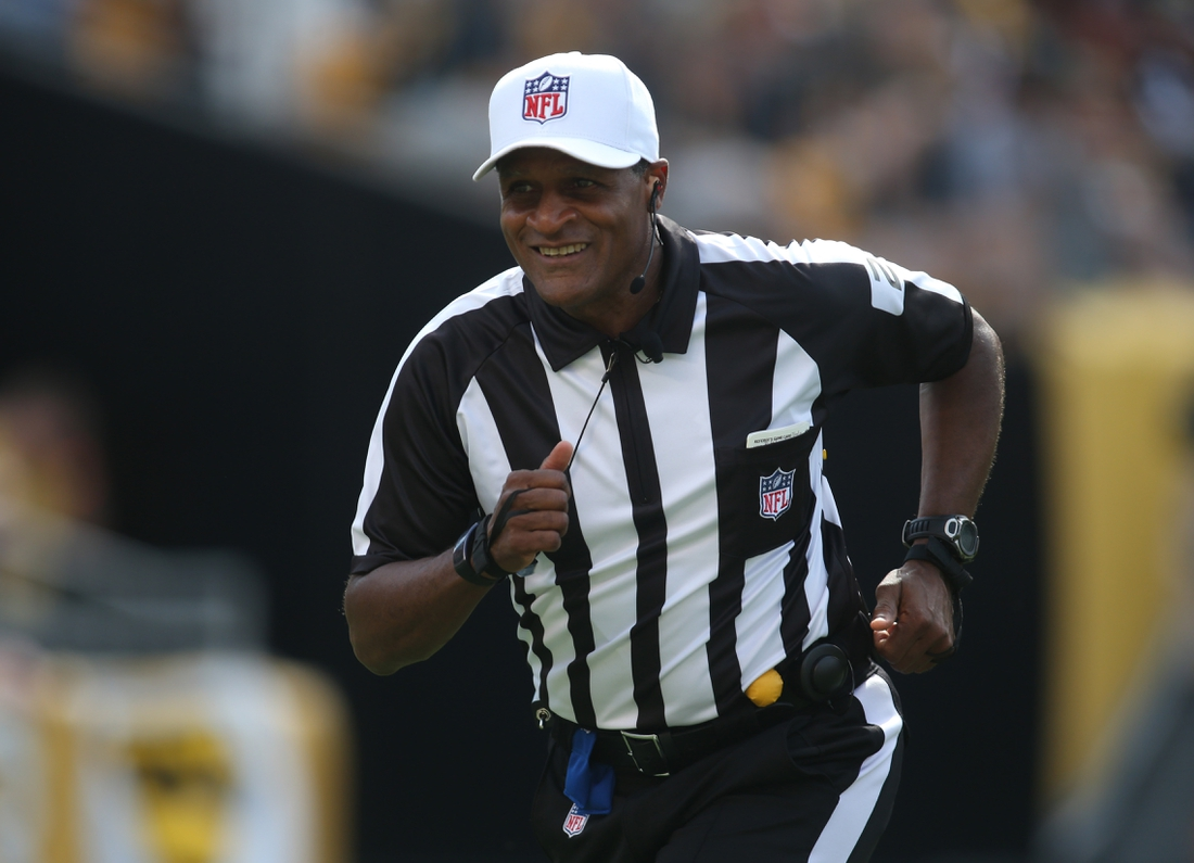 Sep 16, 2018; Pittsburgh, PA, USA;  NFL referee Jerome Boger (23) in action during the fourth quarter of the game between the Kansas City Chiefs and the Pittsburgh Steelers at Heinz Field. The Chiefs won 42-37. Mandatory Credit: Charles LeClaire-USA TODAY Sports