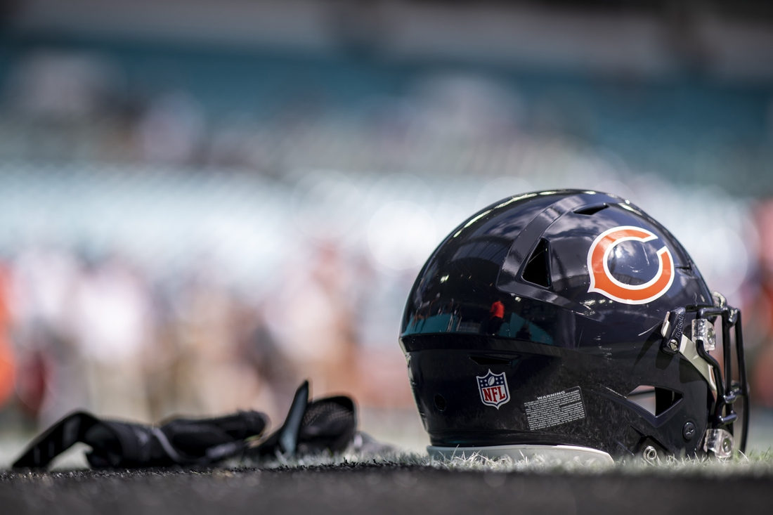 Oct 14, 2018; Miami Gardens, FL, USA; A Chicago Bears helmet and gloves sit on the field prior to the game between the Chicago Bears and Miami Dolphins at Hard Rock Stadium. Mandatory Credit: Douglas DeFelice-USA TODAY Sports