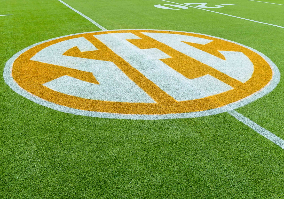Oct 20, 2018; Knoxville, TN, USA; The SEC logo on the field at Neyland Stadium before a game between the Tennessee Volunteers and Alabama Crimson Tide. Mandatory Credit: Bryan Lynn-USA TODAY Sports