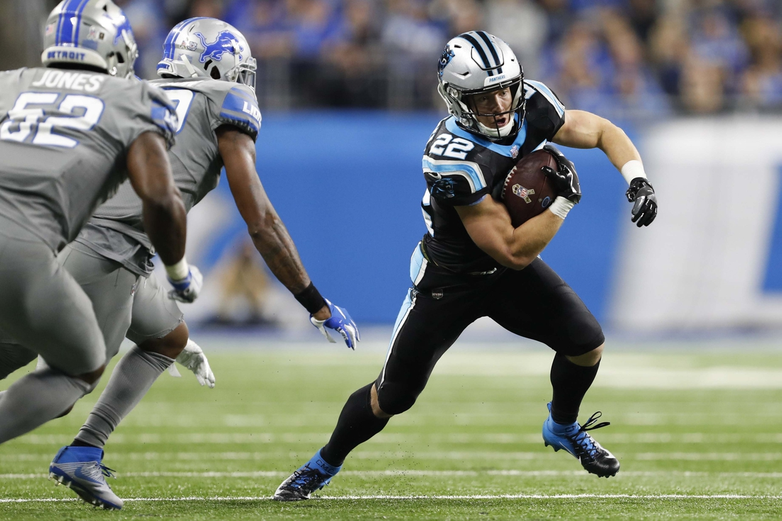 Nov 18, 2018; Detroit, MI, USA; Carolina Panthers running back Christian McCaffrey (22) runs with the ball during the fourth quarter against the Detroit Lions at Ford Field. Mandatory Credit: Raj Mehta-USA TODAY Sports