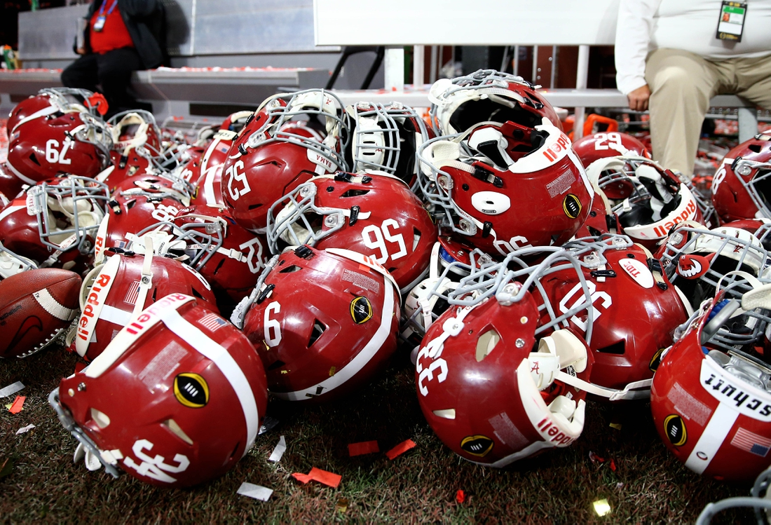 Jan 8, 2018; Atlanta, GA, USA; Detailed view of Alabama Crimson Tide player helmets on the ground after defeating the Georgia Bulldogs in the 2018 CFP national championship college football game at Mercedes-Benz Stadium. Mandatory Credit: Mark J. Rebilas-USA TODAY Sports