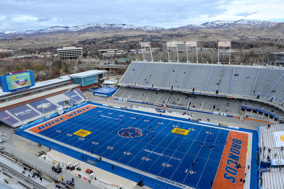 Dec 21, 2018; Boise, ID, United States; A general view of  Albertsons Stadium prior to the start of the 2018 Idaho Potato Bowl between BYU and Western Michigan. Mandatory Credit: Brian Losness-USA TODAY Sports