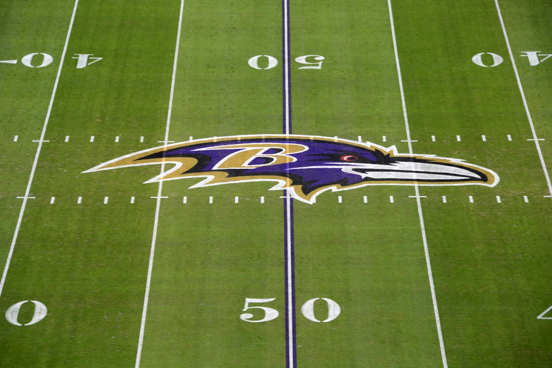 Jan 6, 2019; Baltimore, MD, USA; Detailed view of the Baltimore Ravens logo at midfield during an AFC Wild Card playoff football game against the Los Angeles Chargers at M&T Bank Stadium. Mandatory Credit: Kirby Lee-USA TODAY Sports