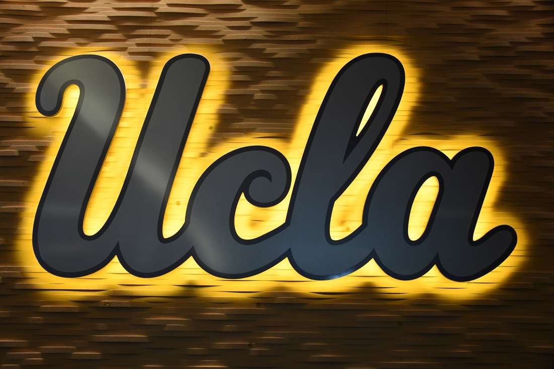 Apr 10, 2019; Los Angeles, CA, USA; Detailed view of UCLA Bruins logo  at Pauley Pavilion. Mandatory Credit: Kirby Lee-USA TODAY Sports