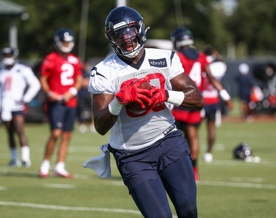 Jul 25, 2019; Houston, TX, USA; Houston Texans tight end Jordan Thomas (83) during training camp at Houston Methodist Training Center. Mandatory Credit: Troy Taormina-USA TODAY Sports
