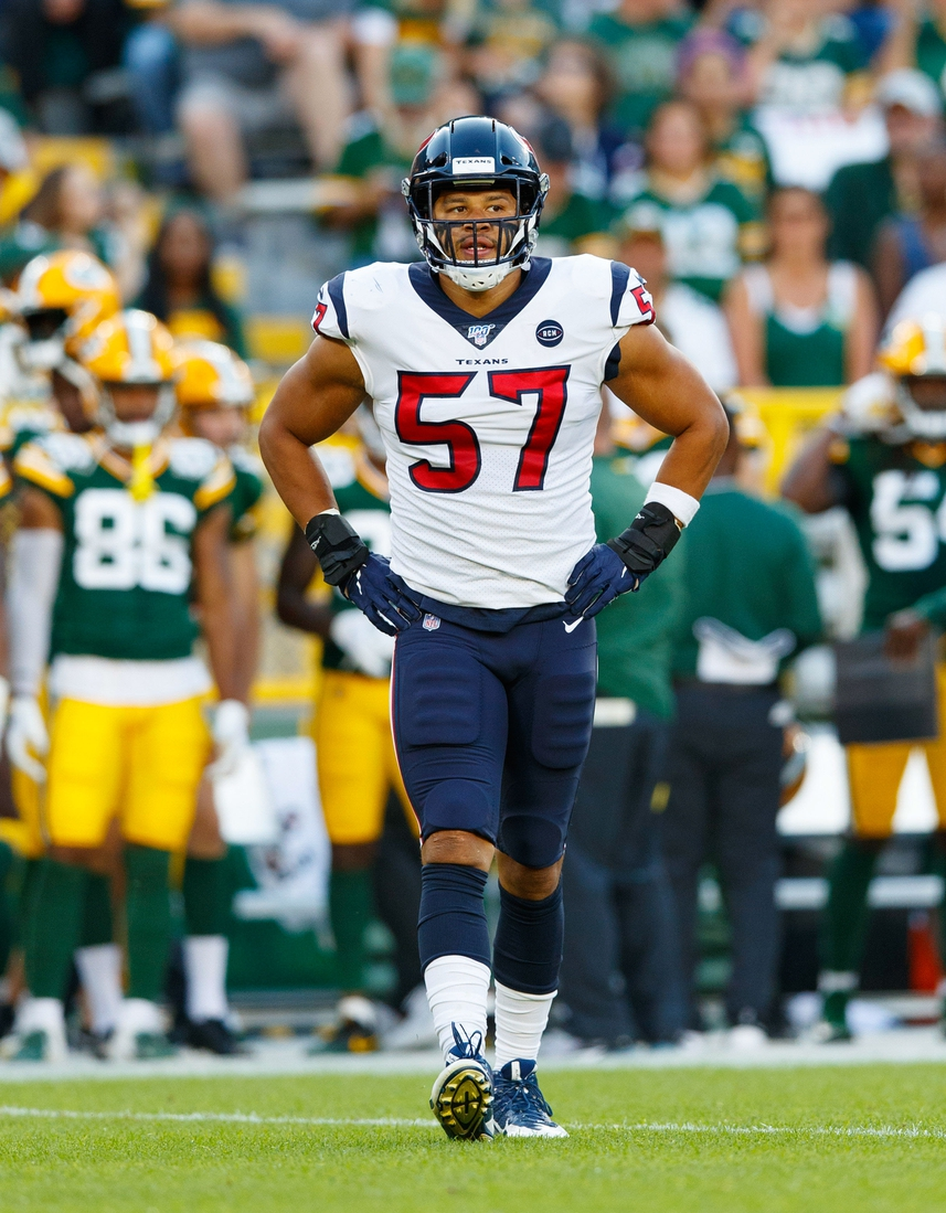 Aug 8, 2019; Green Bay, WI, USA; Houston Texans linebacker Brennan Scarlett (57) during the game against the Green Bay Packers at Lambeau Field. Mandatory Credit: Jeff Hanisch-USA TODAY Sports