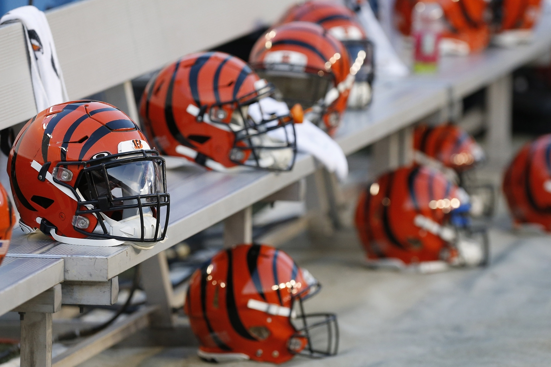 Aug 15, 2019; Landover, MD, USA; Cincinnati Bengals players  helmets rest on the bench prior to their game against the Washington Redskins at FedExField. Mandatory Credit: Geoff Burke-USA TODAY Sports