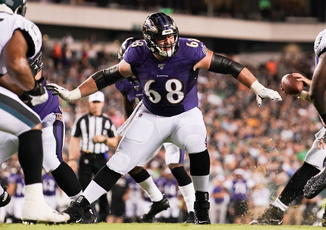 Aug 22, 2019; Philadelphia, PA, USA; Baltimore Ravens center Matt Skura (68) in action against the Philadelphia Eagles at Lincoln Financial Field. Mandatory Credit: Bill Streicher-USA TODAY Sports