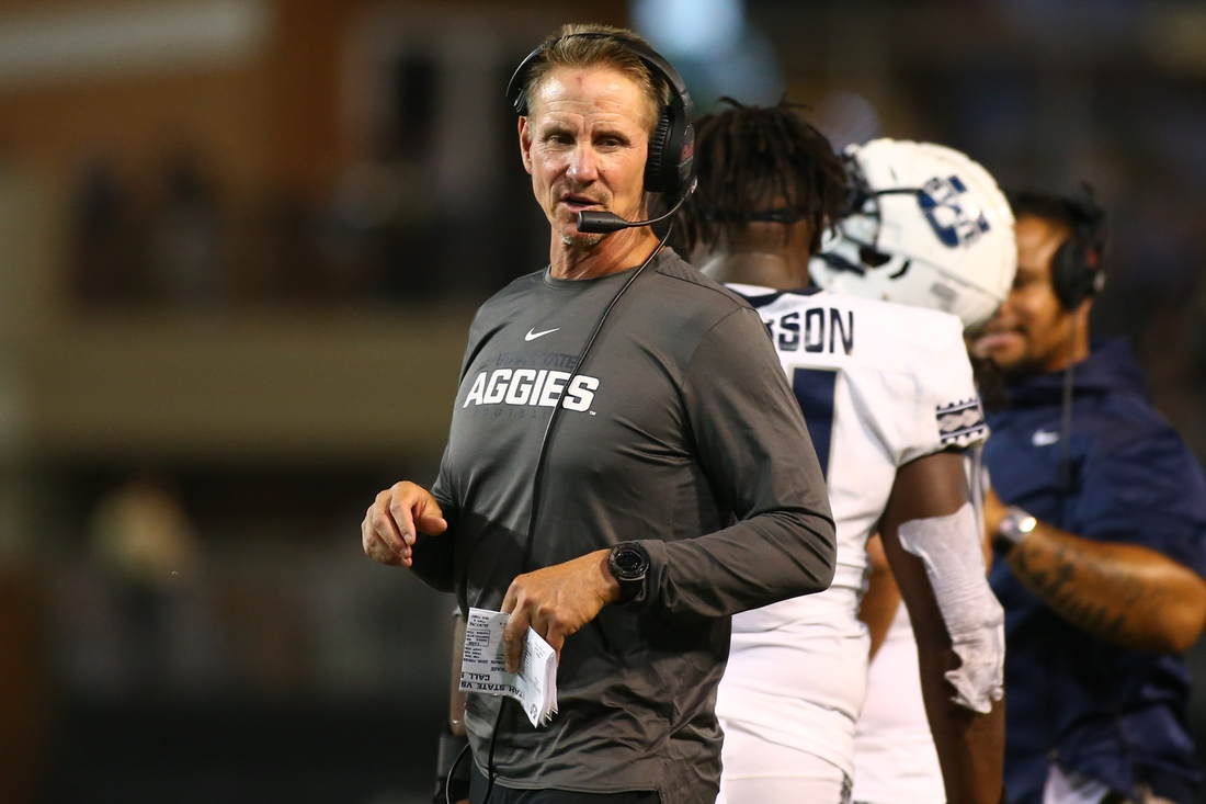 Aug 30, 2019; Winston-Salem, NC, USA; Utah State Aggies head coach Gary Andersen stands on the field during the second half against the Wake Forest Demon Deacons at BB&T Field. Mandatory Credit: Jeremy Brevard-USA TODAY Sports