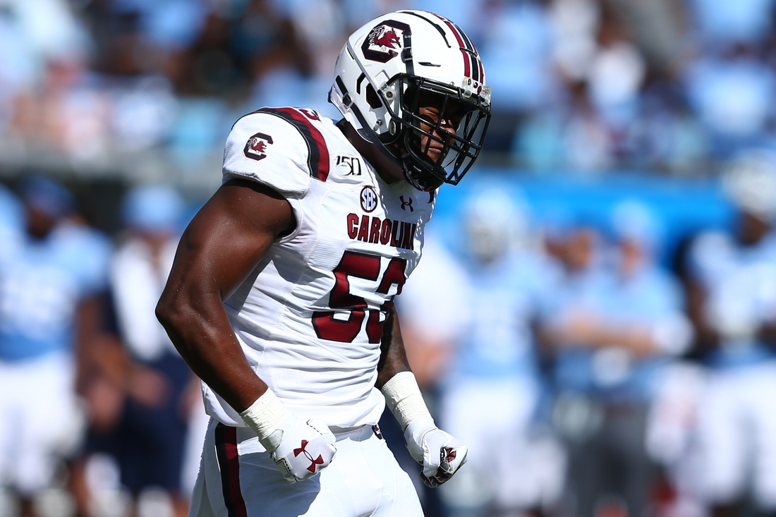 Aug 31, 2019; Charlotte, NC, USA; South Carolina Gamecocks linebacker Ernest Jones (53) reacts after a stop against the North Carolina Tar Heels during the first quarter at Bank of America Stadium. Mandatory Credit: Jeremy Brevard-USA TODAY Sports