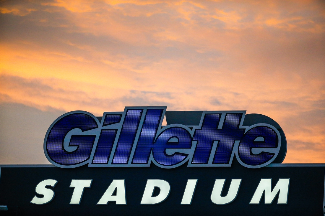 Aug 22, 2019; Foxborough, MA, USA; Gillette Stadium logo during the first half of the game between the New England Patriots and the Carolina Panthers.  Mandatory Credit: Greg M. Cooper-USA TODAY Sports