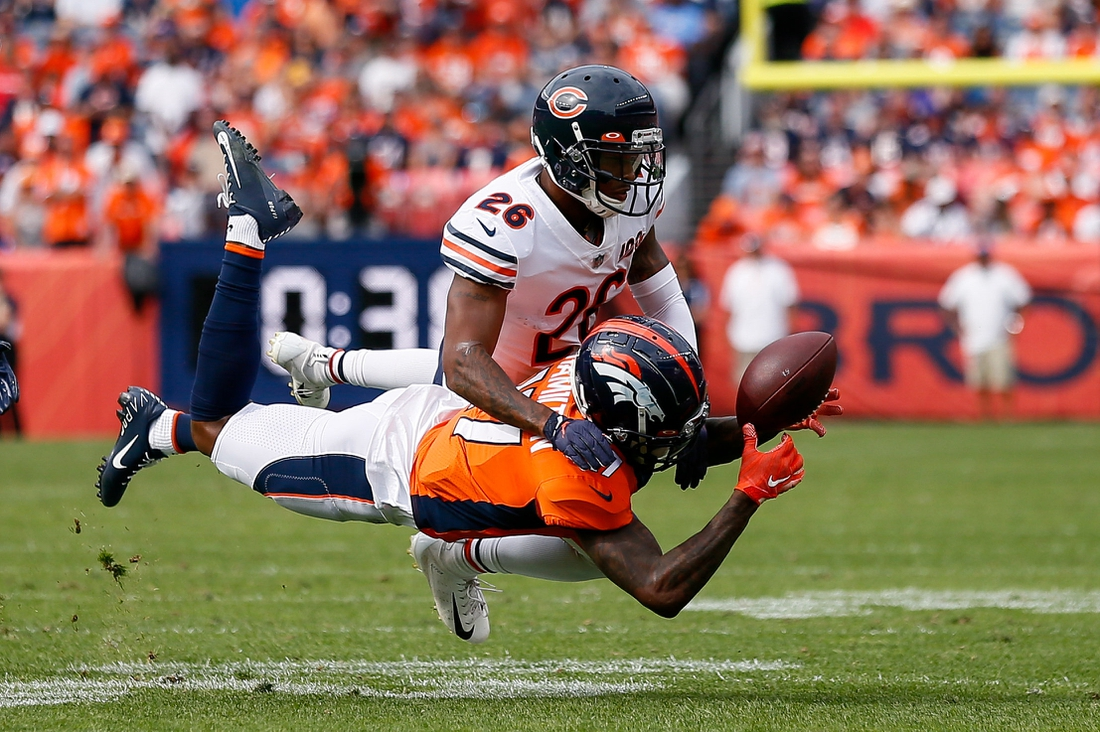 Sep 15, 2019; Denver, CO, USA; Denver Broncos wide receiver DaeSean Hamilton (17) is unable to pull in a pass as Chicago Bears safety Deon Bush (26) defends in the second quarter at Empower Field at Mile High. Mandatory Credit: Isaiah J. Downing-USA TODAY Sports