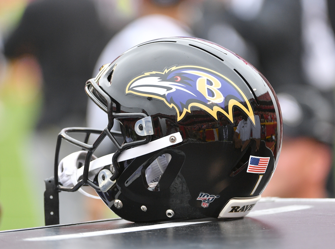 Sep 22, 2019; Kansas City, MO, USA; A general view of a Baltimore Ravens helmet during the game against the Kansas City Chiefs at Arrowhead Stadium. Mandatory Credit: Denny Medley-USA TODAY Sports