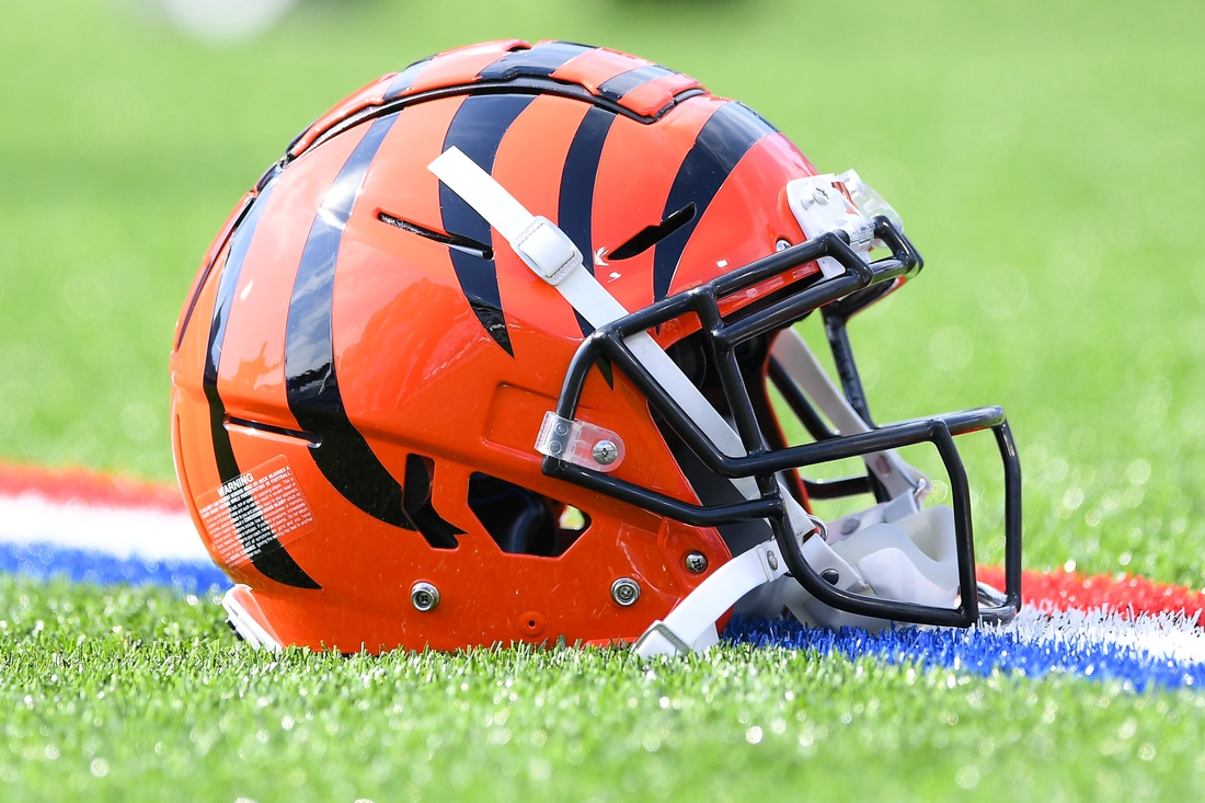 Sep 22, 2019; Orchard Park, NY, USA; General view of a Cincinnati Bengals helmet prior to the game against the Buffalo Bills at New Era Field. Mandatory Credit: Rich Barnes-USA TODAY Sports