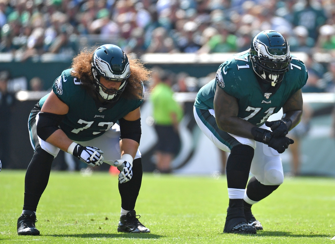 Sep 22, 2019; Philadelphia, PA, USA; Philadelphia Eagles offensive guard Isaac Seumalo (73) and offensive tackle Jason Peters (71) against the Detroit Lions at Lincoln Financial Field. Mandatory Credit: Eric Hartline-USA TODAY Sports