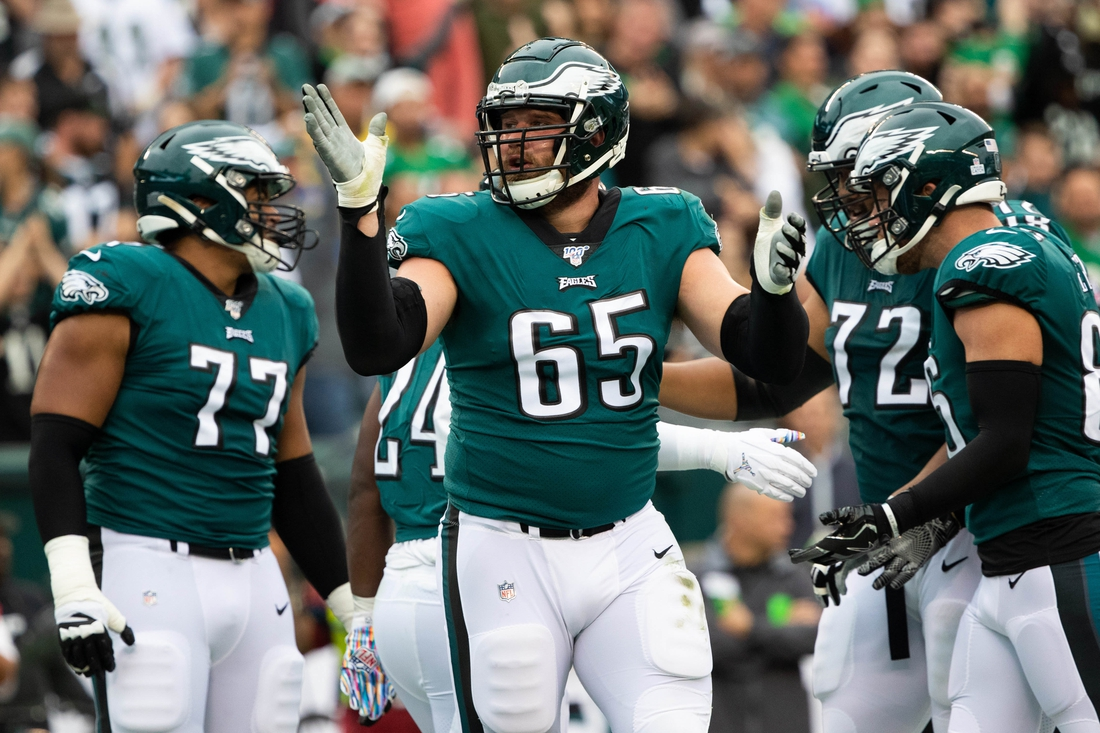 Oct 6, 2019; Philadelphia, PA, USA; Philadelphia Eagles offensive tackle Lane Johnson (65) reacts during the first quarter against the New York Jets at Lincoln Financial Field. Mandatory Credit: Bill Streicher-USA TODAY Sports