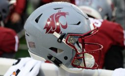 Oct 19, 2019; Pullman, WA, USA; Washington State Cougars helmet sits during football game against the Colorado Buffaloes in the first at Martin Stadium. Mandatory Credit: James Snook-USA TODAY Sports