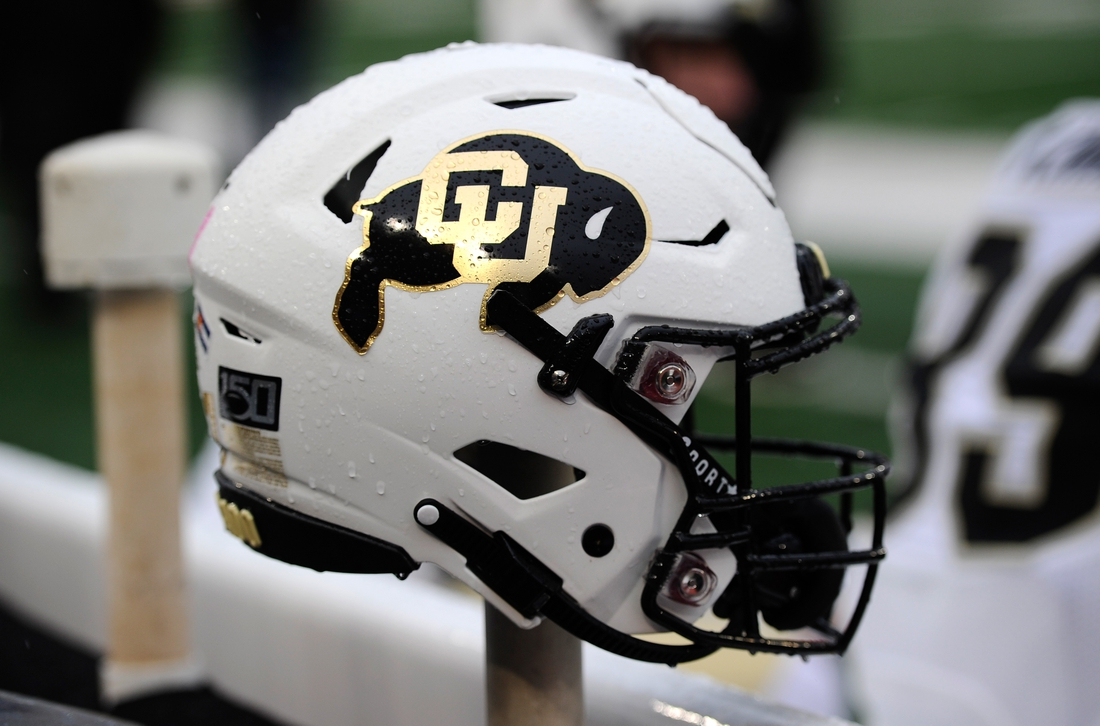Oct 19, 2019; Pullman, WA, USA; Colorado Buffaloes helmet sits during a football game against the Washington State Cougars in the first at Martin Stadium. Mandatory Credit: James Snook-USA TODAY Sports