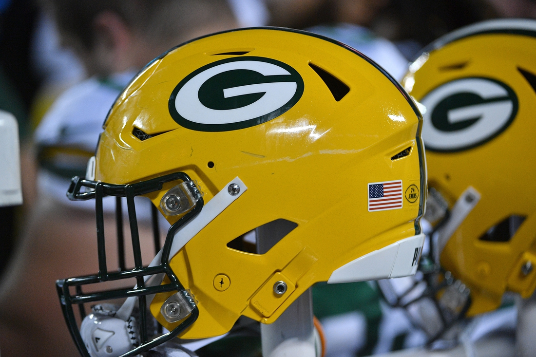 Oct 27, 2019; Kansas City, MO, USA; A general view of a Green Bay Packers helmet during the second half against the Kansas City Chiefs  at Arrowhead Stadium. Mandatory Credit: Denny Medley-USA TODAY Sports
