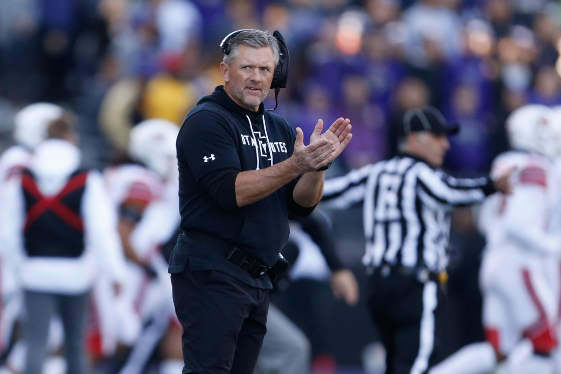 Nov 2, 2019; Seattle, WA, USA; Utah Utes head coach Kyle Whittingham claps during the second quarter against the Washington Huskies at Husky Stadium. Mandatory Credit: Jennifer Buchanan-USA TODAY Sports