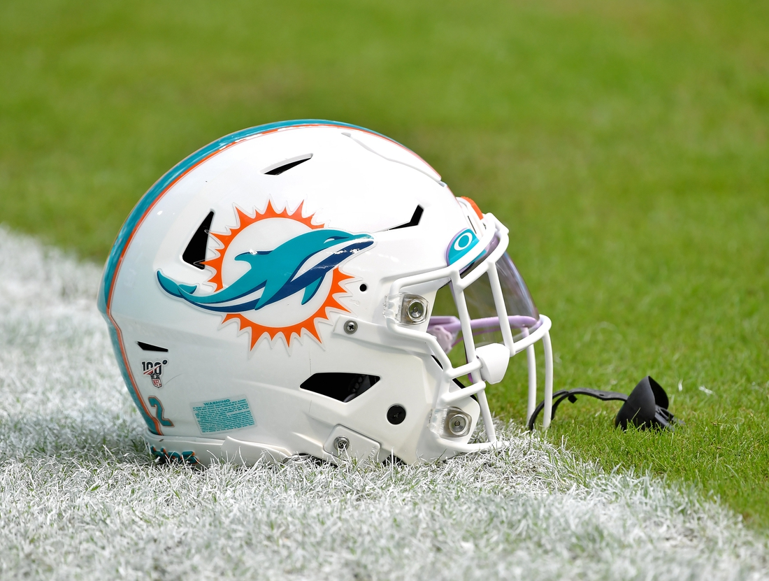 Nov 3, 2019; Miami Gardens, FL, USA; MHelmet is seen before a game against the New York Jets at Hard Rock Stadium. Mandatory Credit: Steve Mitchell-USA TODAY Sports