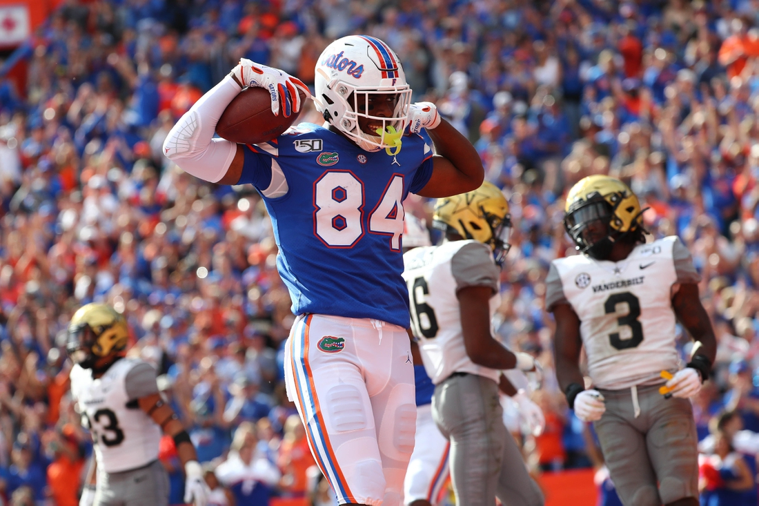 Nov 9, 2019; Gainesville, FL, USA; Florida Gators tight end Kyle Pitts (84) celebrates as he scores a touchdown against the Vanderbilt Commodores  during the second half at Ben Hill Griffin Stadium. Mandatory Credit: Kim Klement-USA TODAY Sports