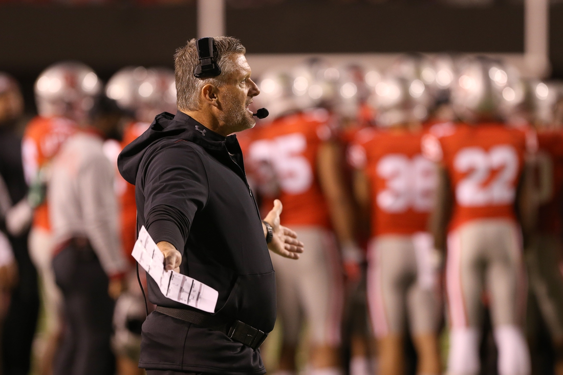 Nov 16, 2019; Salt Lake City, UT, USA; Utah Utes head coach Kyle Whittingham on the sidelines during a timeout in the fourth quarter against UCLA at Rice-Eccles Stadium. Mandatory Credit: Melissa Majchrzak-USA TODAY Sports