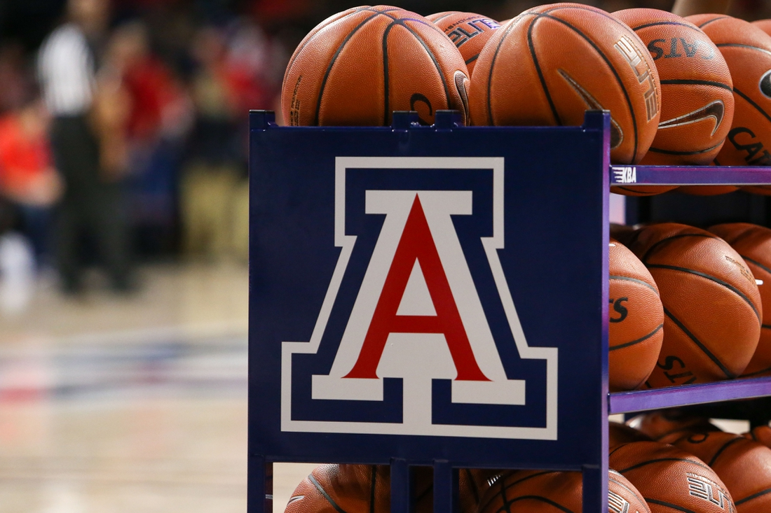 Nov 14, 2019; Tucson, AZ, USA; Arizona Wildcats logo on a basketball cart in the second half during a NCAA Basketball game between San Jose State Spartans and the Arizona Wildcats at McKale Center. Mandatory Credit: Jacob Snow-USA TODAY Sports