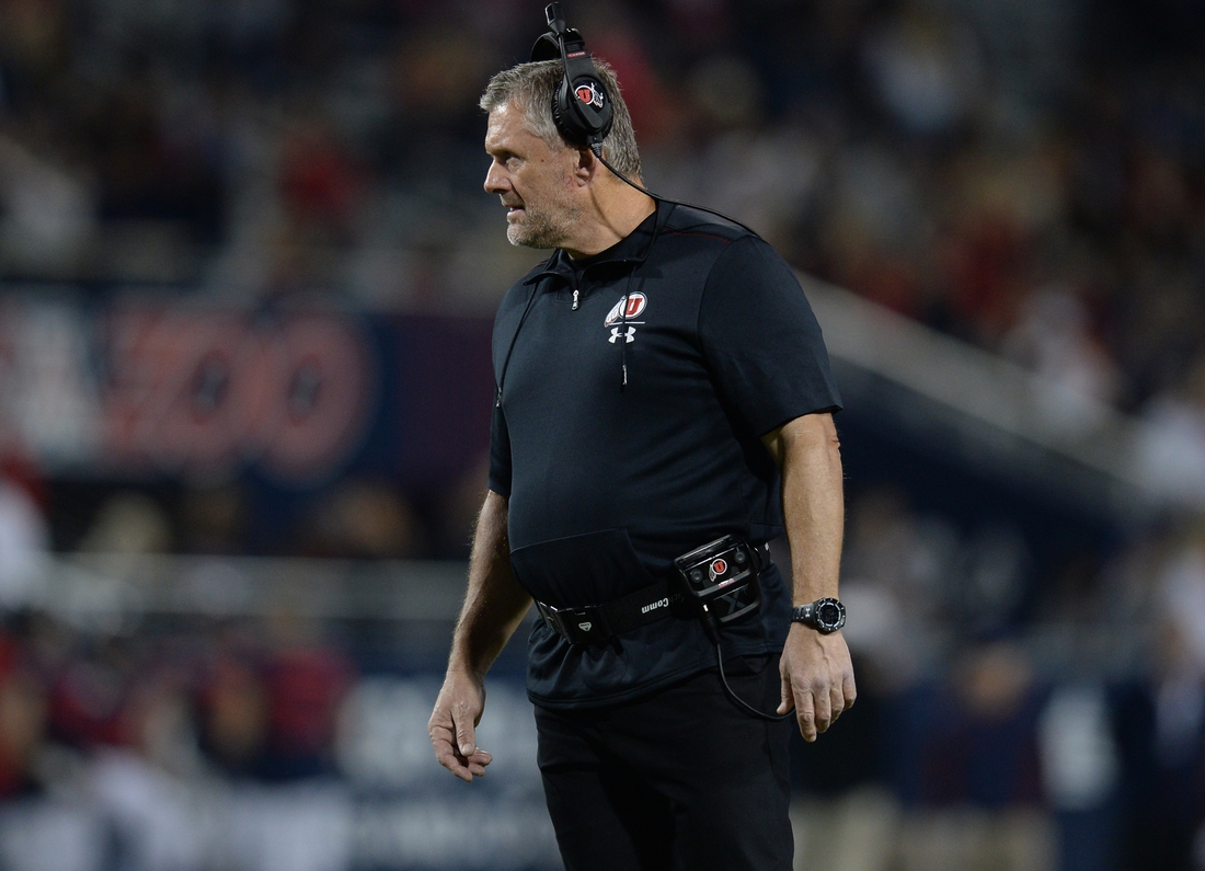 Nov 23, 2019; Tucson, AZ, USA; Utah Utes head coach Kyle Whittingham looks on during the first half against the Arizona Wildcats at Arizona Stadium. Mandatory Credit: Joe Camporeale-USA TODAY Sports