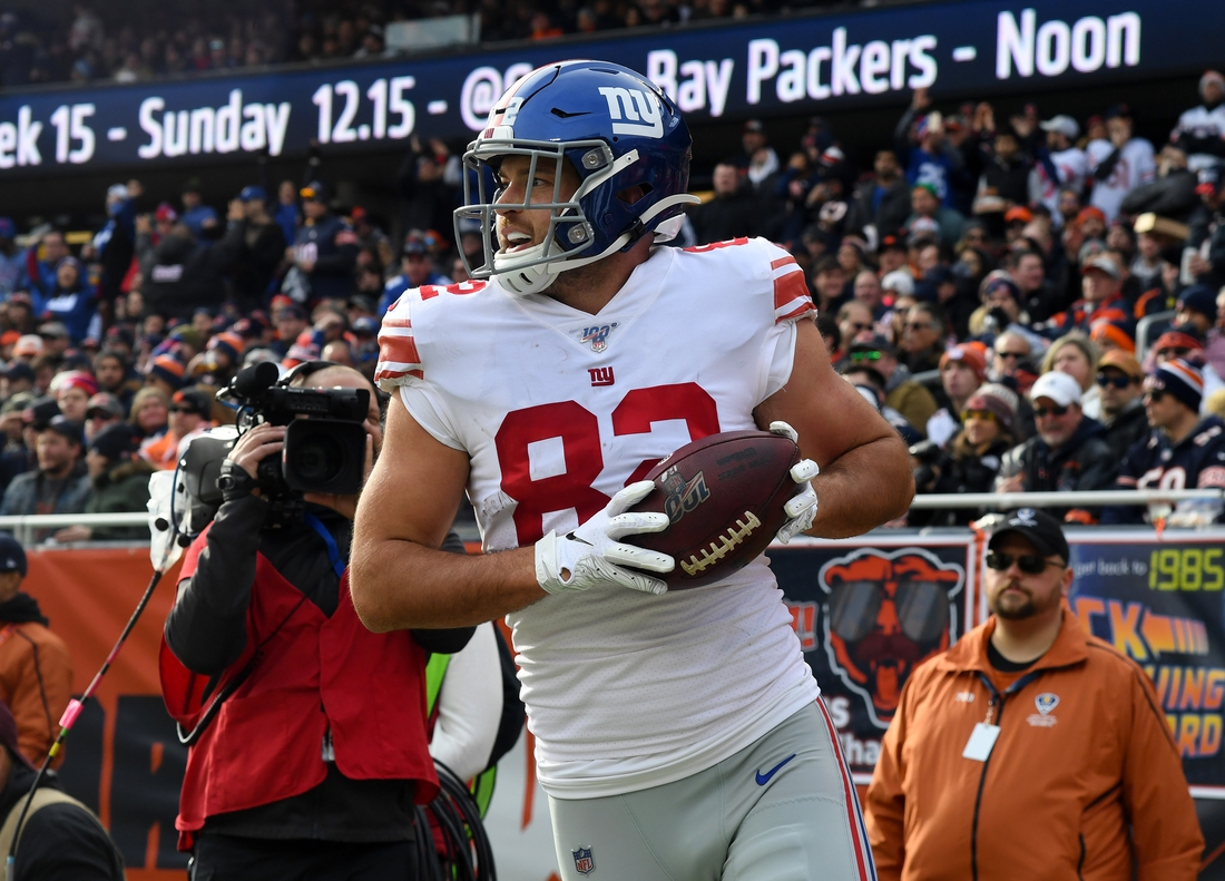 Nov 24, 2019; Chicago, IL, USA; New York Giants tight end Kaden Smith (82) reacts after making a touchdown against the Chicago Bears during the second quarter at Soldier Field. Mandatory Credit: Mike DiNovo-USA TODAY Sports