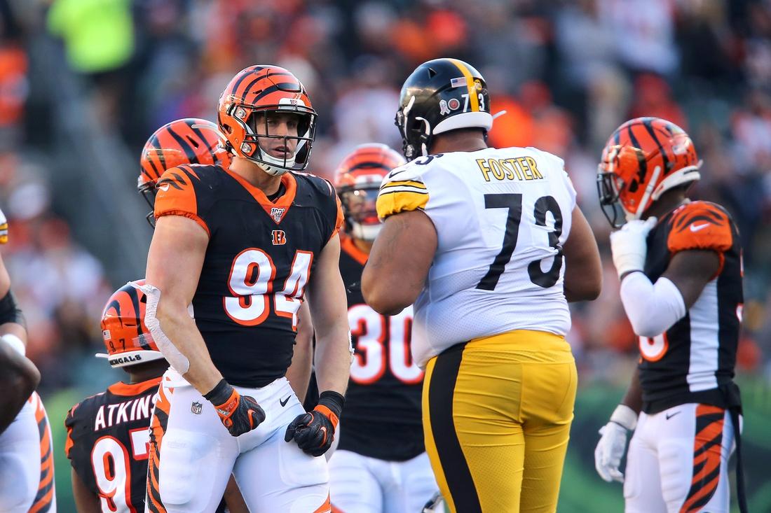 Nov 24, 2019; Cincinnati, OH, USA; Cincinnati Bengals defensive end Sam Hubbard (94) during the fourth quarter against the Pittsburgh Steelers at Paul Brown Stadium. Mandatory Credit: Joe Maiorana-USA TODAY Sports