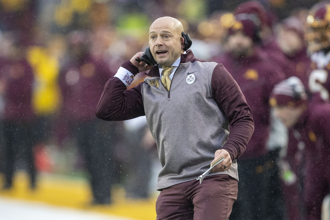 Nov 30, 2019; Minneapolis, MN, USA; Minnesota Golden Gophers head coach P.J. Fleck watches game action during the first half against the Wisconsin Badgers at TCF Bank Stadium. Mandatory Credit: Jesse Johnson-USA TODAY Sports